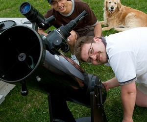 Phil, Tom and Dobsonian Telescope