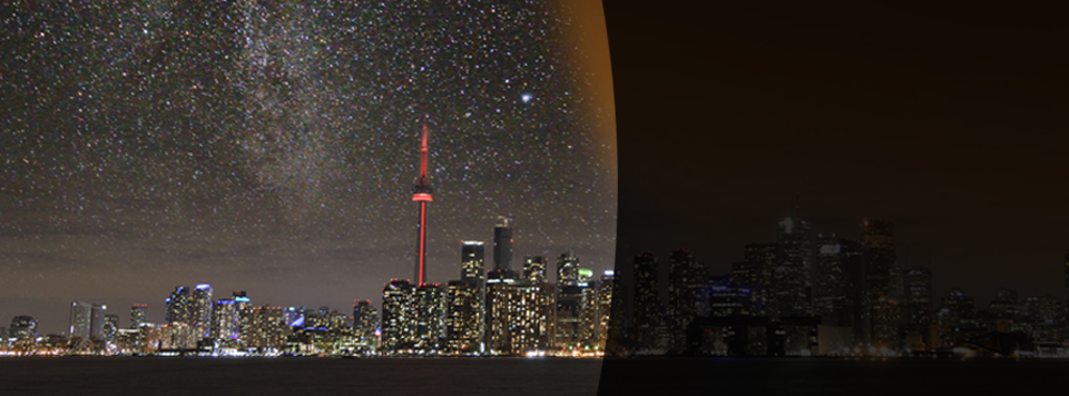 Light polluted cityscape of Toronto